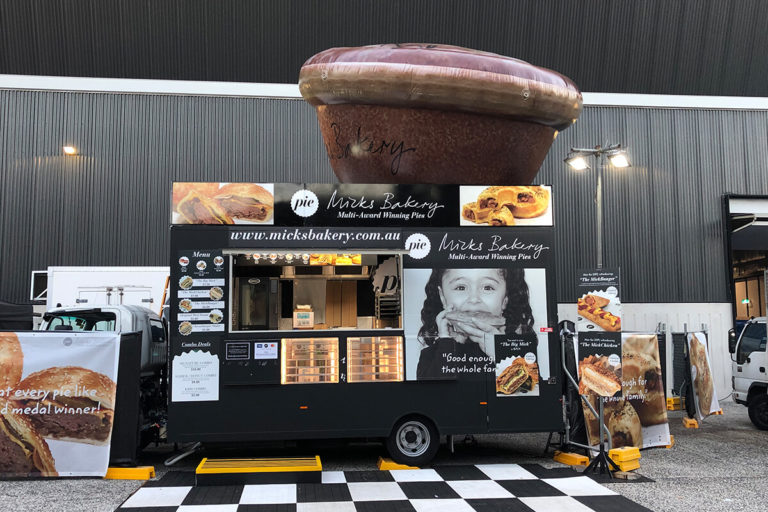 Custom Made Inflatable Pie On Top Of A Food Van