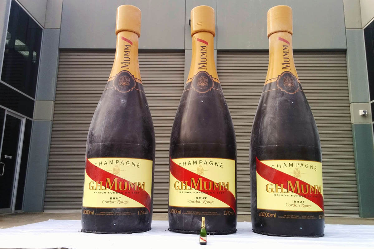 Inflatable Champagne Bottles for GH Mumm