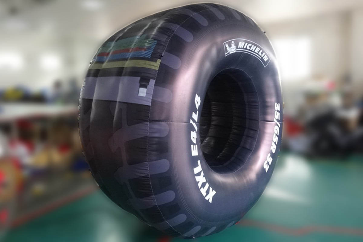 Inflatable Tyre Promotion At A Car Race