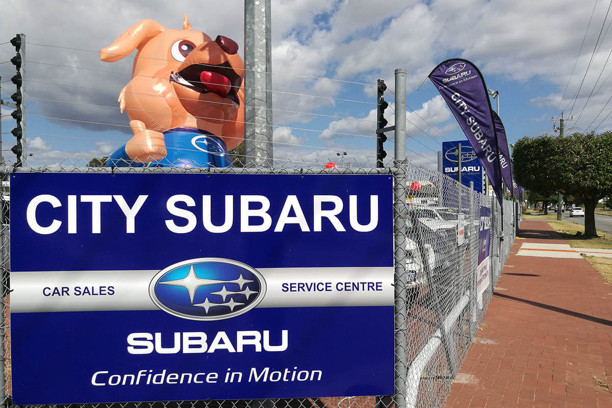 City Subaru Inflatable Dog Mascot