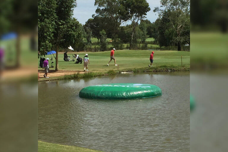 Giant Inflatable Game Being Used
