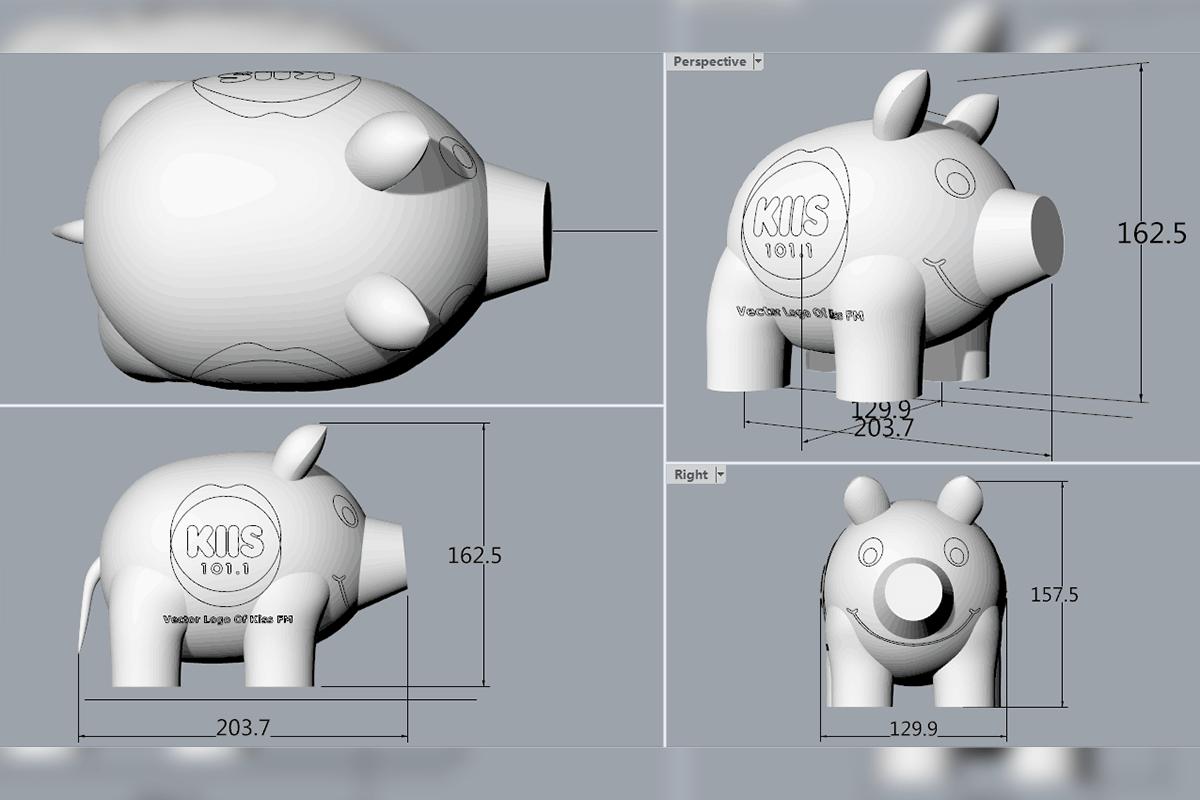 Inflatable Pig 3D Render