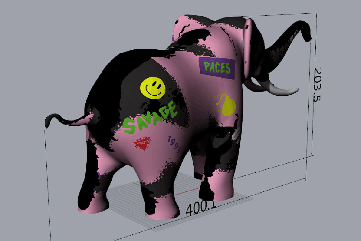 Back View 3D Mock Inflatable Elephant