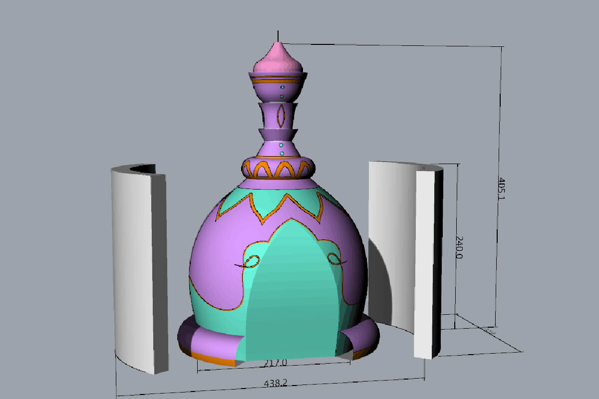 Inflatable Theatre Prop 3D with Colour