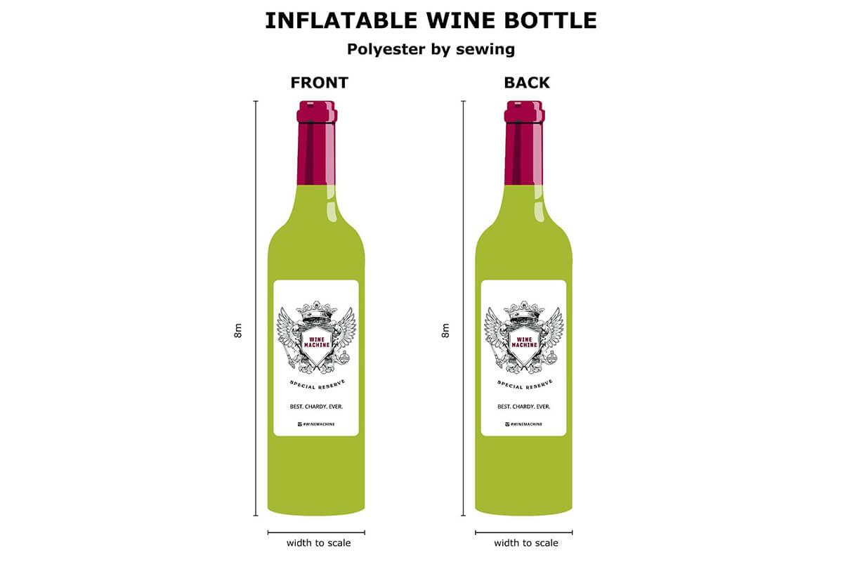 Inflatable Wine Bottle 2D Design