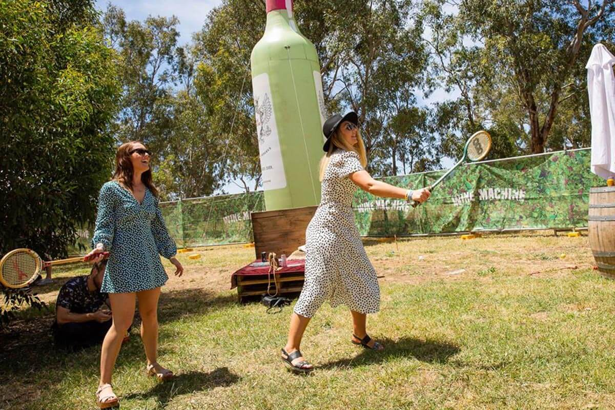 Inflatable Wine Bottle in Action