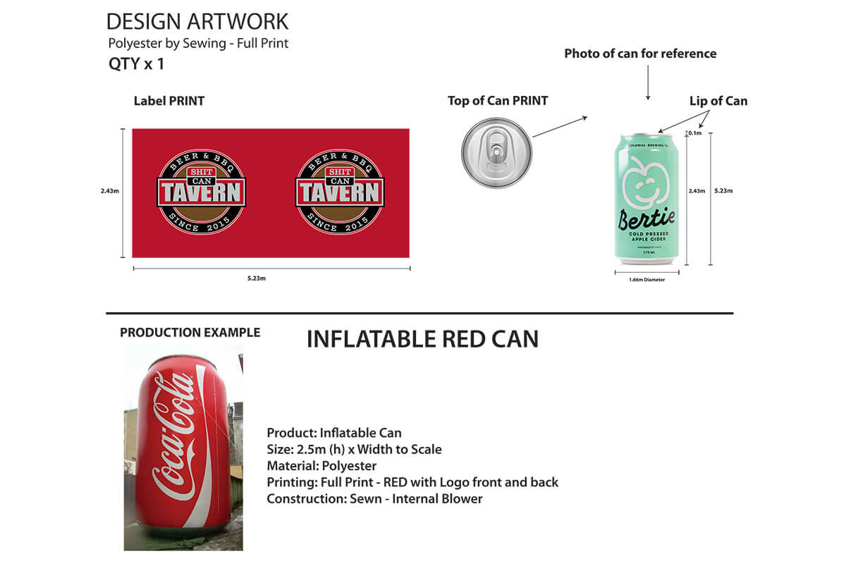 Inflatable Novelty Beer Can 2D Artwork