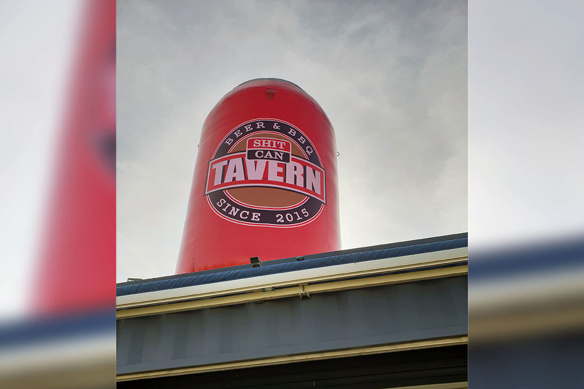 Inflatable Novelty Beer Can In Action